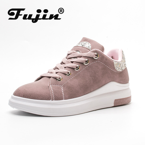 Fuijin 2020 Spring Summer Autumn women Fashion sneakers female casual shoes platform PU leather classic cotton lace up shoes(China)