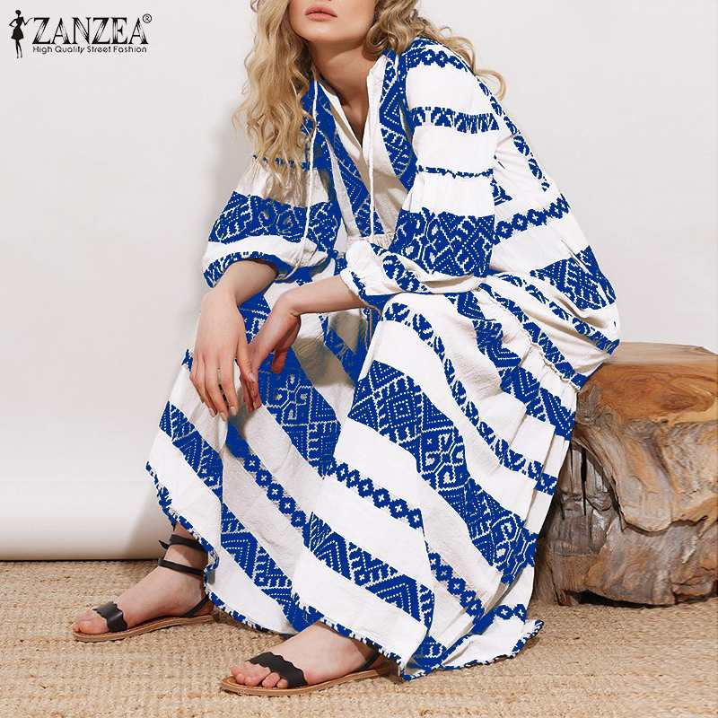 ZANZEA Plus Size Women Bohemian Dress 2019 Summer V Neck Printed Pockets Long Maxi Vestidos Beach Party Sundress Kaftan Dress