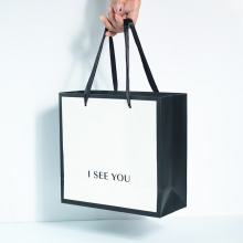 Tote-Bag Custom-Paper Black Gift White Wholesale Simple-Design Fashion And for Jewelry