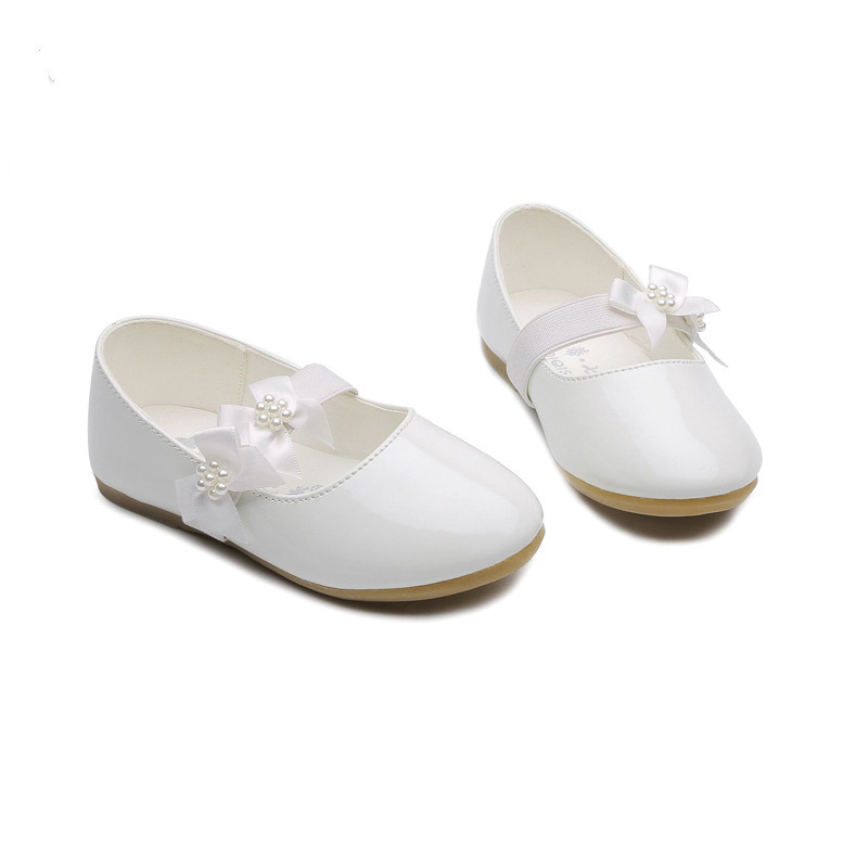 Children-Shoes Leather Baby Girl Flower White Party And Weddin Dress Shoes School Kids Toddler Prinses Shoes 1 2 3 4 5 6 Years