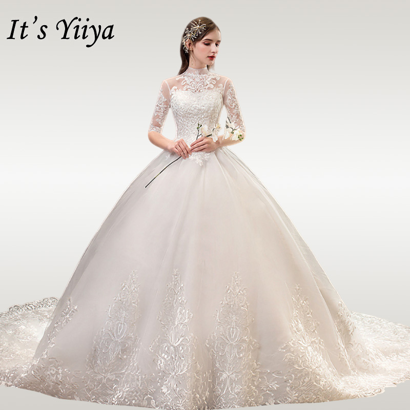 It's YiiYa Wedding Dresses High Collar Lace Wedding Dress Elegant Half Sleeve Embroidery Plus Size Vestido De Novia 2020 TD39