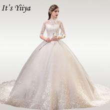 It's YiiYa Wedding Dresses High Collar Lace Wedding Dress Elegant Half Sleeve Embroidery Plus Size Vestido De Novia 2020 TD39