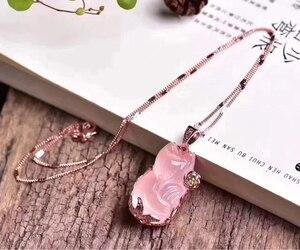 Image 2 - Naturel Rose Rose Quartz étoile lumière pendentif collier femmes hommes forme de renard du Mozambique nouveau cadeau 32x20mm cristal bijoux AAAAA