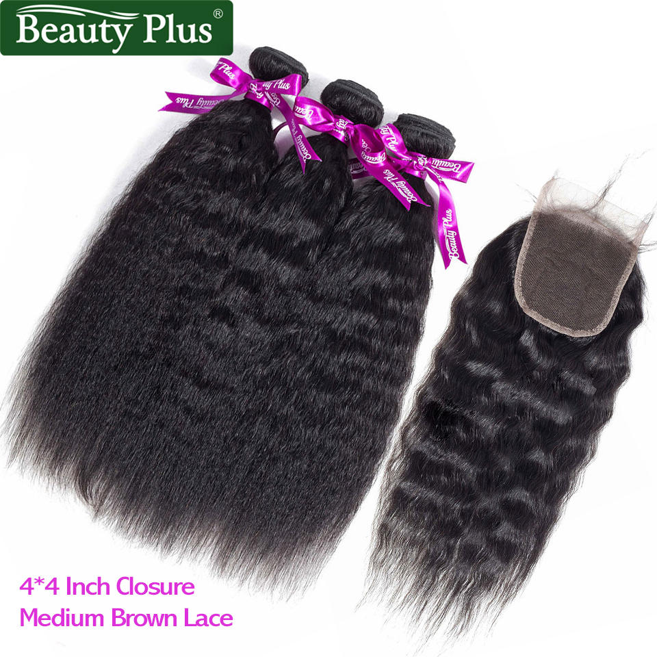 Kinky Straight Hair With Closure Yaki Human Hair Weave 3 Bundles With Closure Black Baby Hair Brazilian Remy Hair Extensions BP