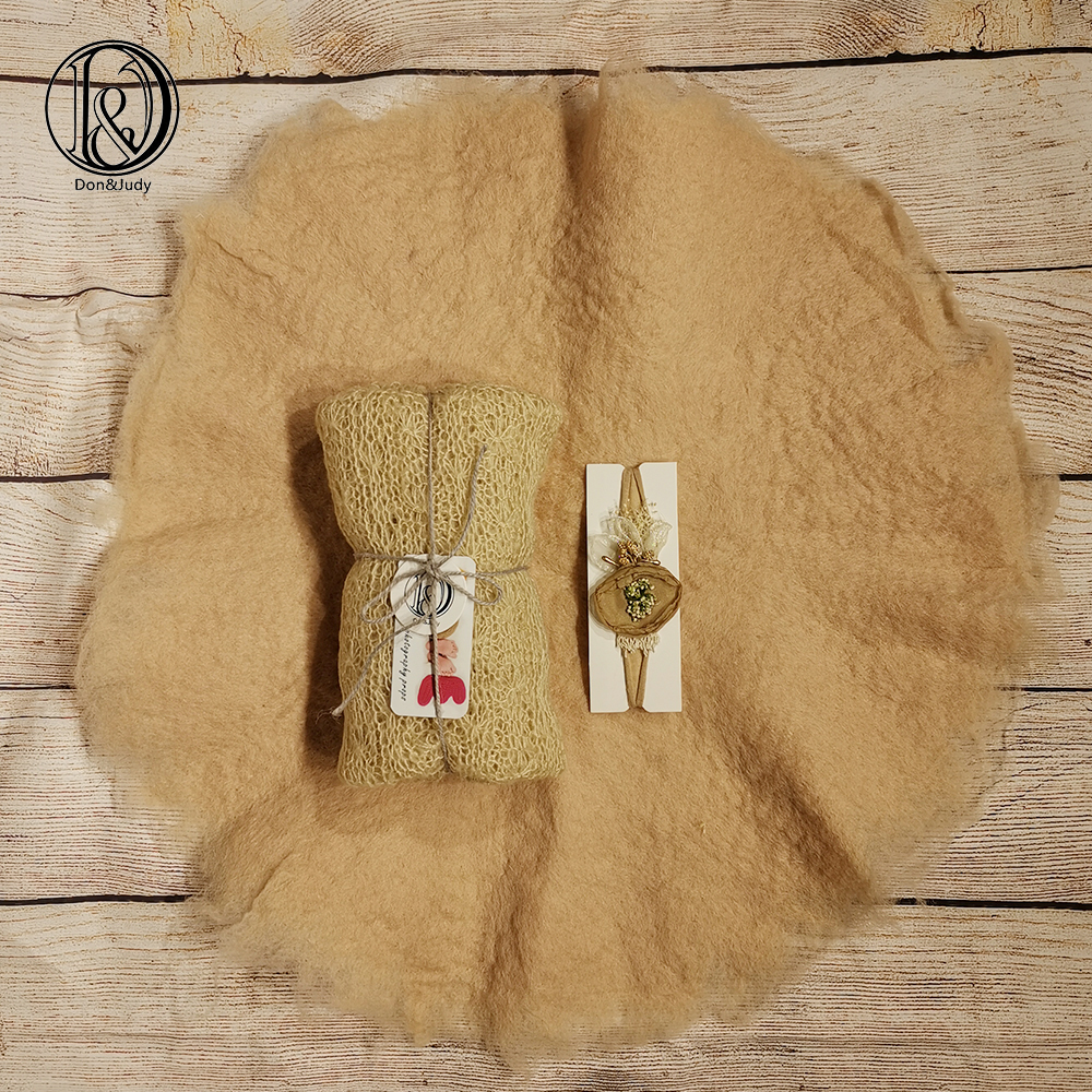 Don&Judy Handmade 100% Wool Blanket+ Wrap+Headband Layer Felt Fleece Super Soft Basket Filler Stuffer Newborn Baby Photography
