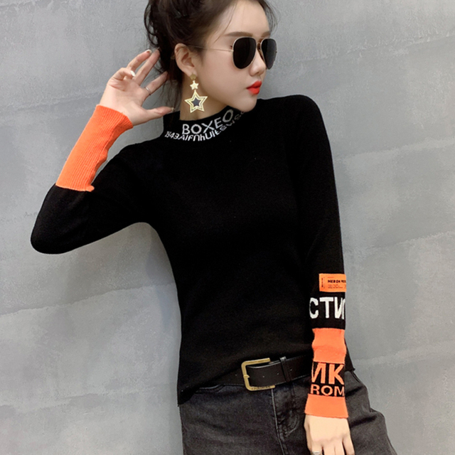 #3828 White Black Harajuku Woman Sweater Pullovers Long Sleeve Letter Tight Sweater Turtleneck Thin Knitted Tops Spring Autumn 2