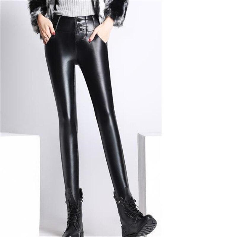 Woman Plus Size Pu Black Leather Pants Female Trousers Slim Autumn Winter Oversized Stretch Solid Plus Velvet Warm Pencil Pants