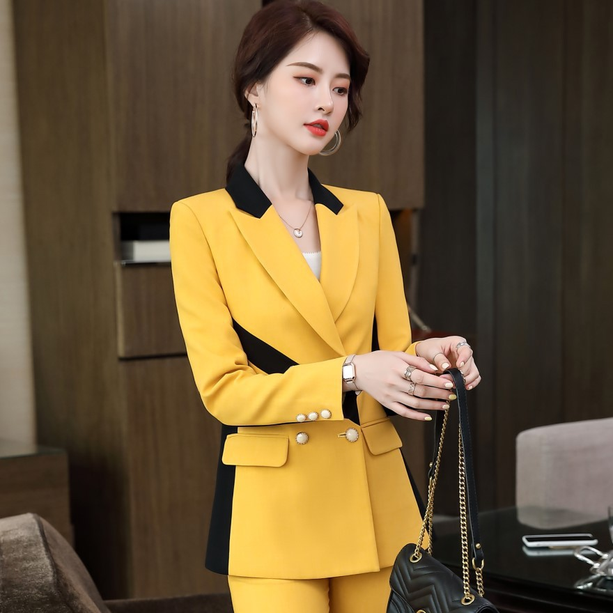 High quality plus size women's business suit pants two-piece Autumn and winter contrast color ladies office jacket Slim trousers