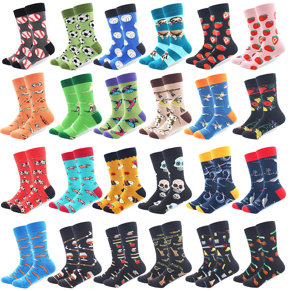 1 Pair Drop Shipping Male Cotton Socks Colorful Bird Art Socks Multi Pattern Long Happy Funny Skateboard Socks Men's Dress Sock