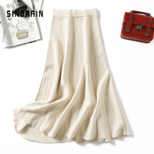 Image 2 - SINGRAIN ผู้หญิงถักกระโปรงยาวฤดูหนาว WARM เสื้อกันหนาว A Line Maxi กระโปรง Midi ถักหญิงก้น Swing กระโปรงฤดูใบไม้ร่วง