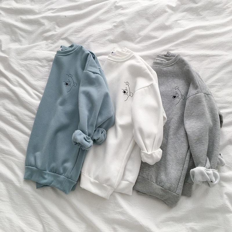 Harajuku Thickening Sweatshirt Women Casual Oversize BF Gray Blue Pig Pattern Pullover Female Fashion Autumn Winter Tops