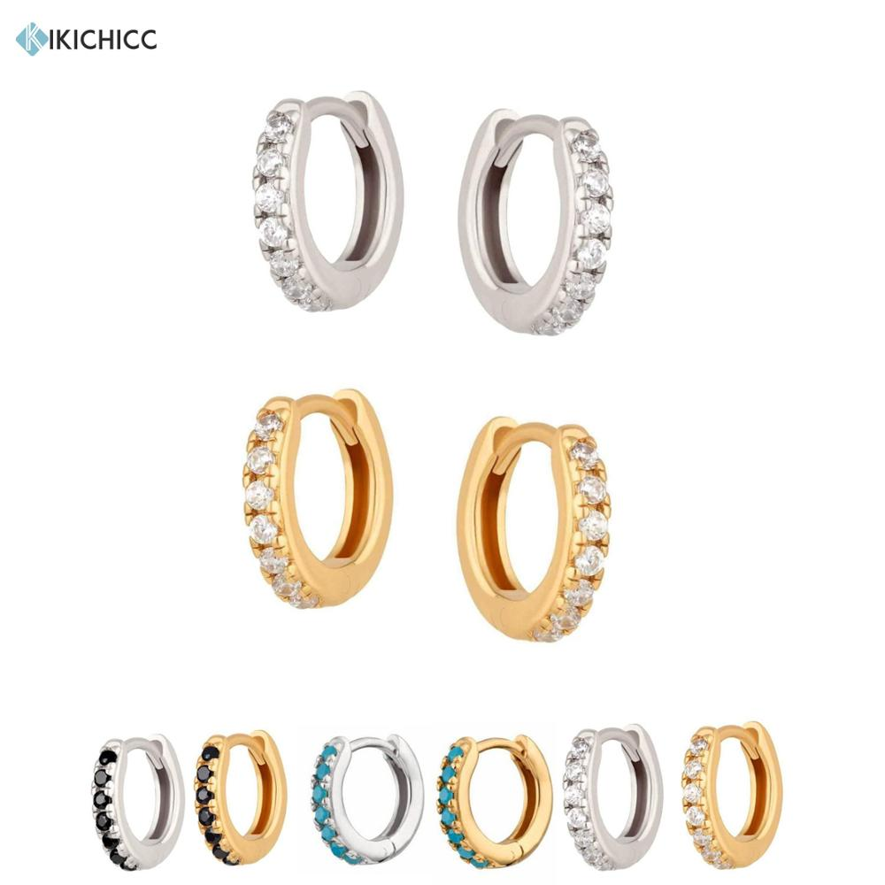 Kikichicc 925 Sterling Silver Mini Hoops 7mm Huggies Circle Round Ring Clips Loops Piercing Zircon CZ Pave Popular Jewelry