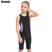Riseado Children Swimwear Sport One Piece Swimsuit Competition Swimming Suits for Girls Race Back Slim Bathing