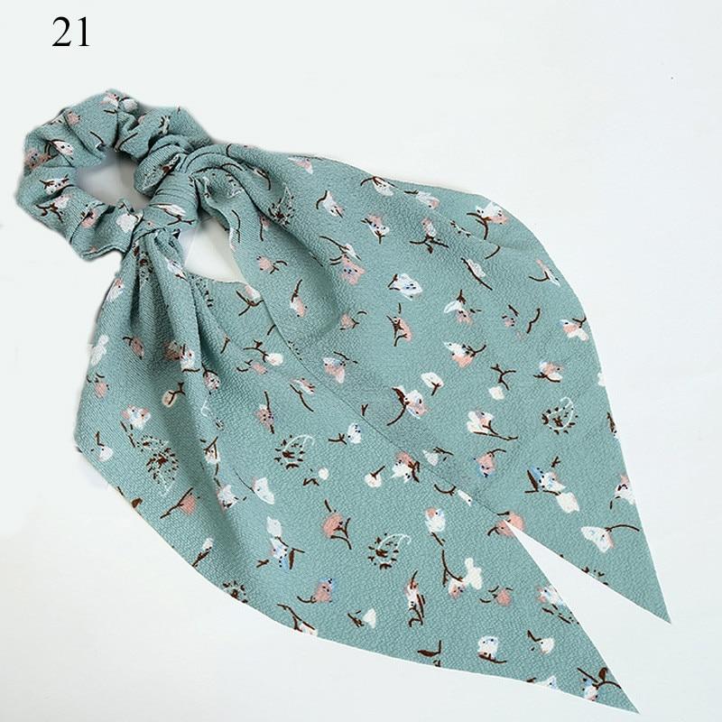 Bohème grande fleur chouchous longs banderoles arc cheveux écharpe femmes filles doux cheveux corde cravates mode cheveux accessoires chapeaux 18