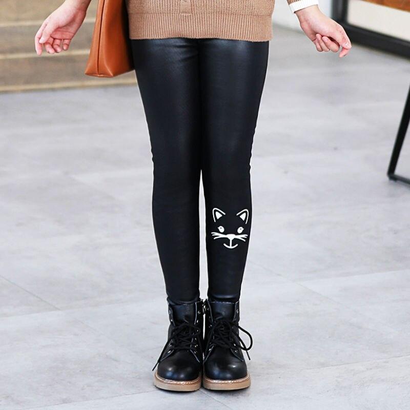 Girls Faux PU Leather Leggings Winter Thick Fleece Lined Skinny Pants Cartoon Print Kids Stretchy Legging Black 5