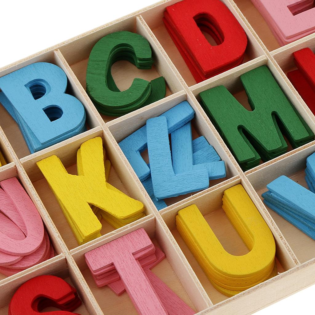 156pcs Colorful Wooden Letter Alphabet Embellishment Kids Educational Toys