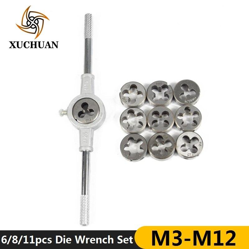 6/8/11pcs M3-M12 Metric Die Wrench Set  Hand Tapping Kit Screw Die Thread Die Set