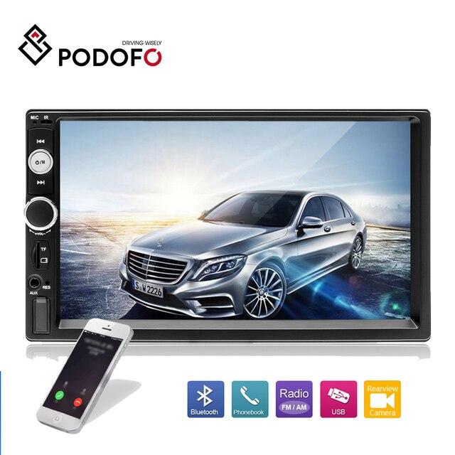 """Podofo 2din カーマルチメディア MP5 プレーヤーオーディオステレオ 2DIN 車ラジオ 7 """"HD タッチスクリーンデジタルディスプレイの Bluetooth Autoradio USB FM"""