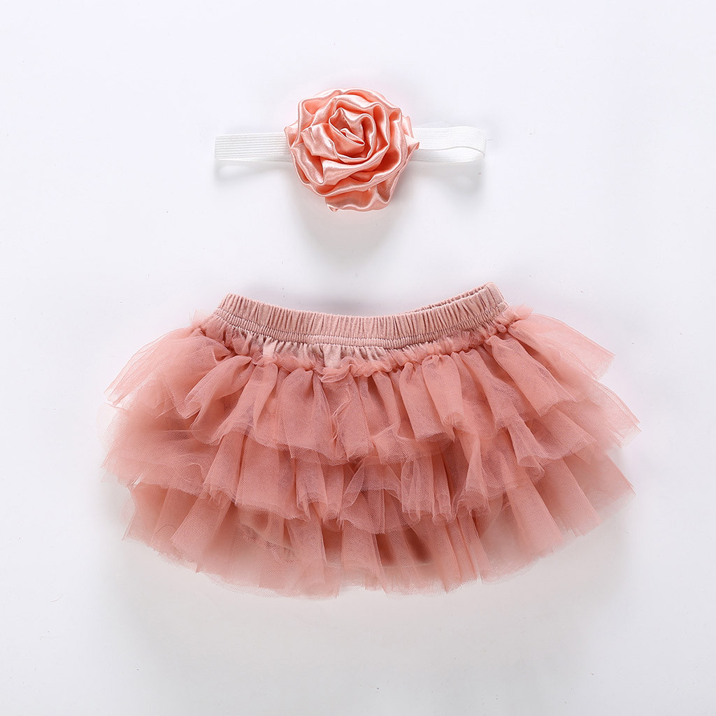 dPois Infant Baby Girls Bowknot Ruffle Tulle Bloomers Skirts Diaper Cover with Flower Headband 2PCS Photography Prop Set