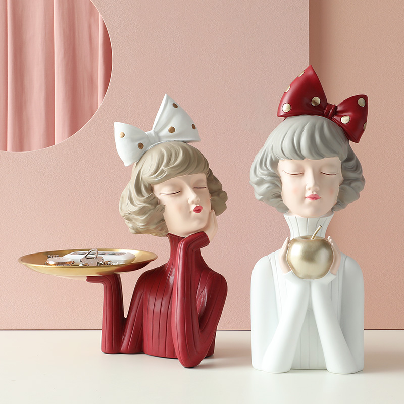 Resin Modern Apple Girl Figurine Home Decoration Creative Crafts Ornaments for Kids Christmas Gift Sweet sculpture