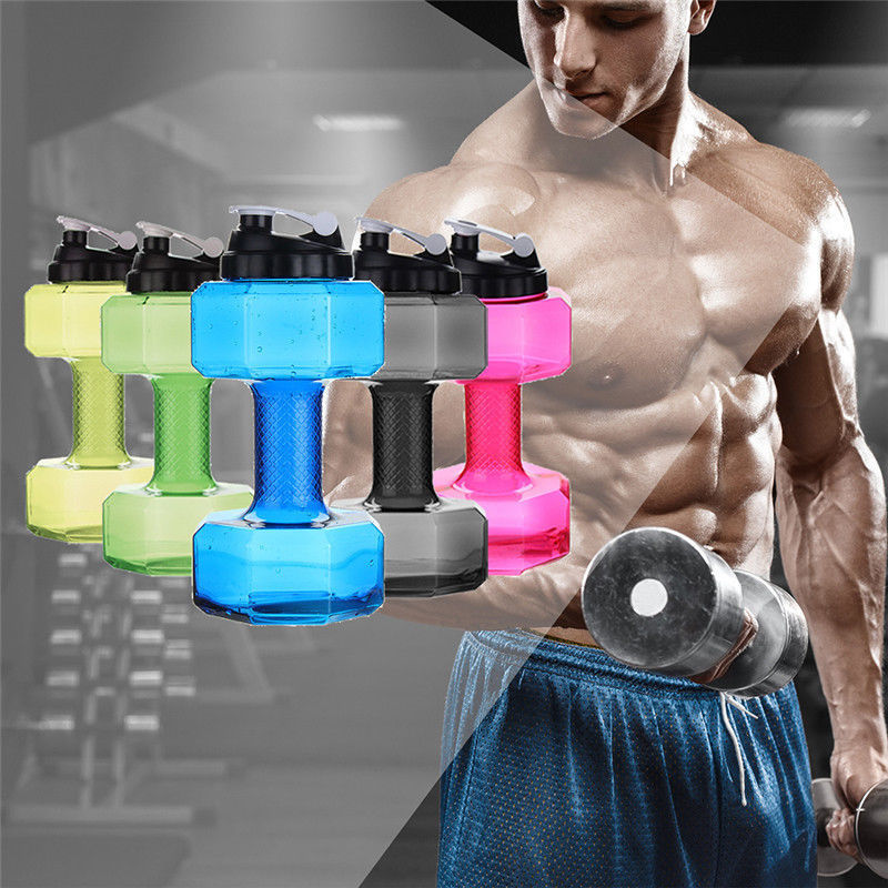 2200ml Portable Dumbbell Shaped Sport Water Bottle Exercise Gym Protein Shake Weight Plastic Cycling Sport Drink Bottle