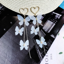 long-style, long-style and butterfly-ring, female-style, super-fairy eardrop,2019 new tide-net red-ear ornament