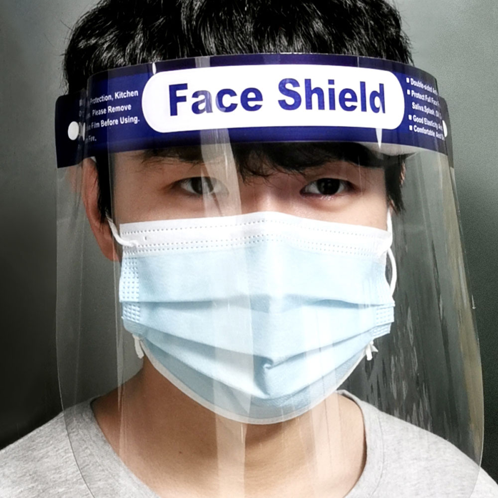 Unisex Casual Style Adjustable Full Face Shield Mask Cover Transparent Plastic Anti-fog Protective Mask Safety Face Mask