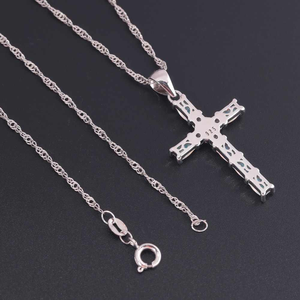 CiNily biały i niebieski krzyż naszyjnik z opalem i naszyjnik posrebrzany klejnot krucyfiks urok z kamieniem Christian biżuteria religijna jezus