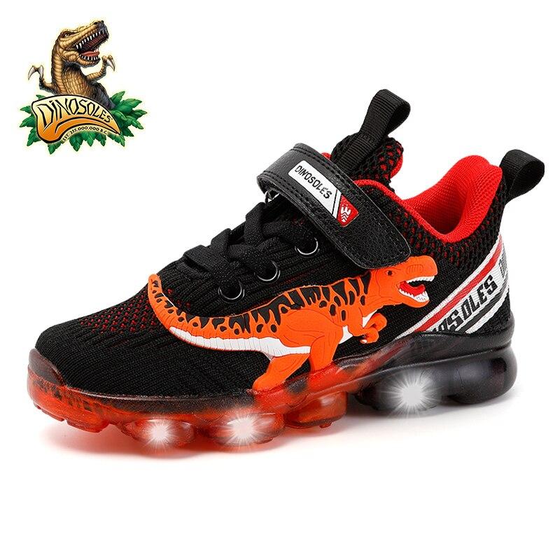 Кроссовки для тенниса Dinoskulls, светящиеся кроссовки T rex для мальчиков и девочек, светодиодный сетчатый материал, воздухопроницаемая школьная