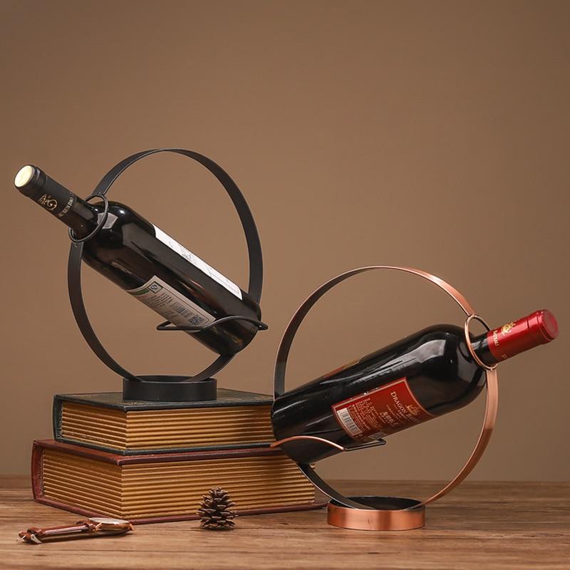 Estilo europeu retro ferro forjado rack de vinho redondo, decoração de mesa para casa, armário do vinho varanda decoração, vinho vinho rack