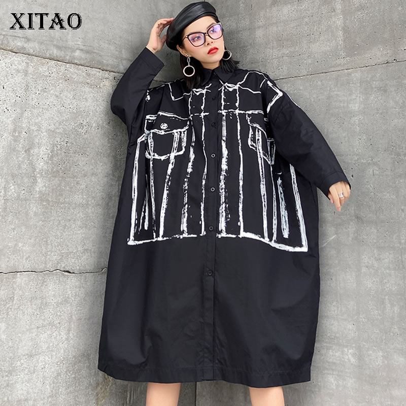 XITAO Print Geometrical Shirt Fashion New Women Full Sleeve Plus Size Single Breast Minority Casual Loose Blouse Top DMY3126