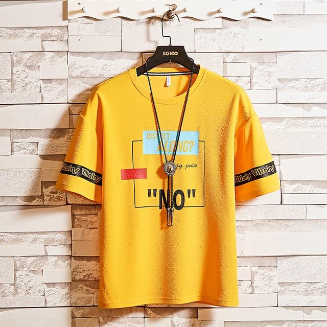 Summer Cotton Short-sleeved Print T-shirt Men's Korean Trendy Brand Half-sleeved Tees Streetwear Harajuku Casual Loose Tops 1