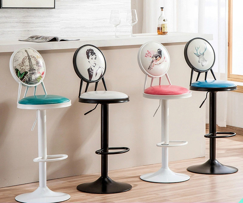 Iron Bar Chair, Rotary Lift Bar Chair, Coffee Back Stool, Retro High Stool, Front Desk Cash Bar Chair