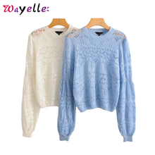 hollow out pullovers women sweater elegant knitted solid long sleeve shirt women 2019 stretchy white sky blue casual chic tops