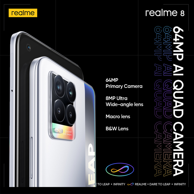 """[World Premiere In Stock] realme 8 Smartphone 64MP Quad Camera Helio G95 6.44""""inch AMOLED Display 5000mAh Battery 30W Charge 3"""