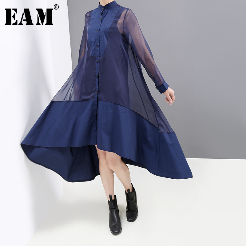 [EAM] Women Mesh Asymmetrical Perspective Split Dress New Stand Collar Long Sleeve Loose Fit Fashion Spring Autumn 2020 1K238