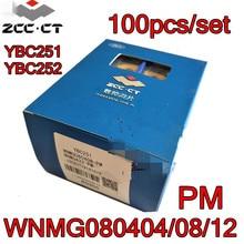 WNMG080404 PM WNMG080408 PM WNMG080412 PM ybc251 ybc252 100 pçs/set zcc. ct carboneto de inserção processamento: aço
