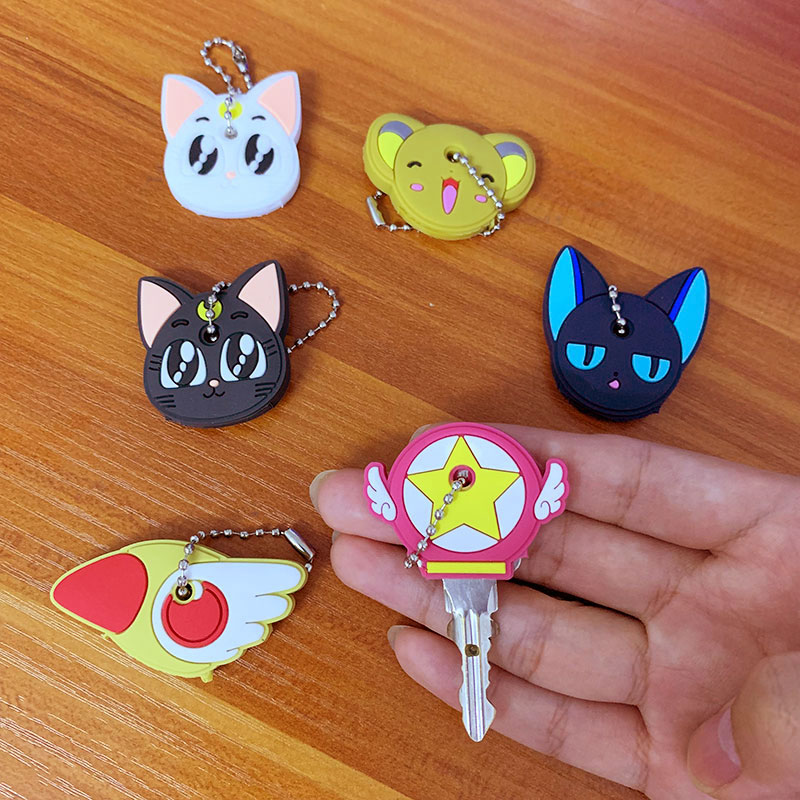 Zoeber 2pcs/set Cartoon Anime Pet Keychain Cute Cat Key Cover Cap Silicone Bago Bulldog Keychain For Women Gift Porte Clef