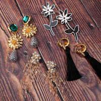 Flatfoosie New Bohemian Resin Flower Drop Earrings For Women Geometric Handmade Beaded Tassel Hanging Statement Earrings Jewelry
