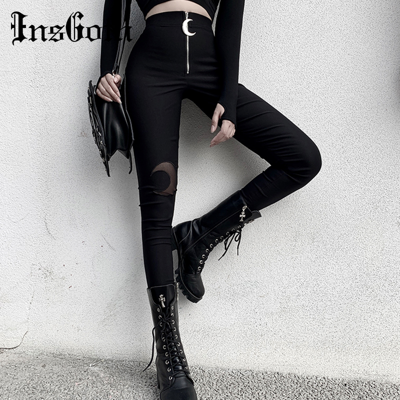 InsGoth Black Pencil High Waist Pants Gothic Moon Zipper Hollow Out Bodycon Women Long Trousers Casual Streetwear Vintage Pants