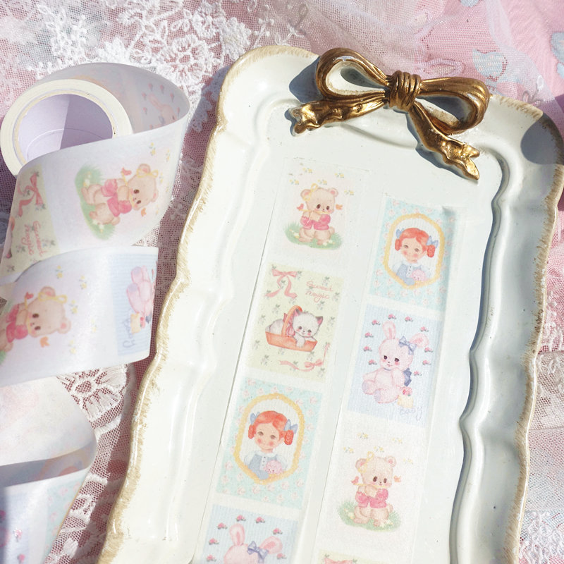 3cm Retro Cartoon Rabbit Kawaii Bear Lazy Cat Vintage Beautiful Girl Maiden Heart Washi Tape DIY Scrapbookin Masking Tape