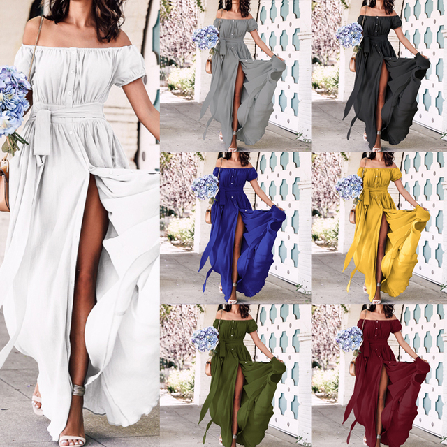2019 Bohemian Dress Celmia Summer Women Ruffle Long Maxi Dress Sexy Off Shoulder Buttons Party Vestidos Mujer Plus Size Sundress