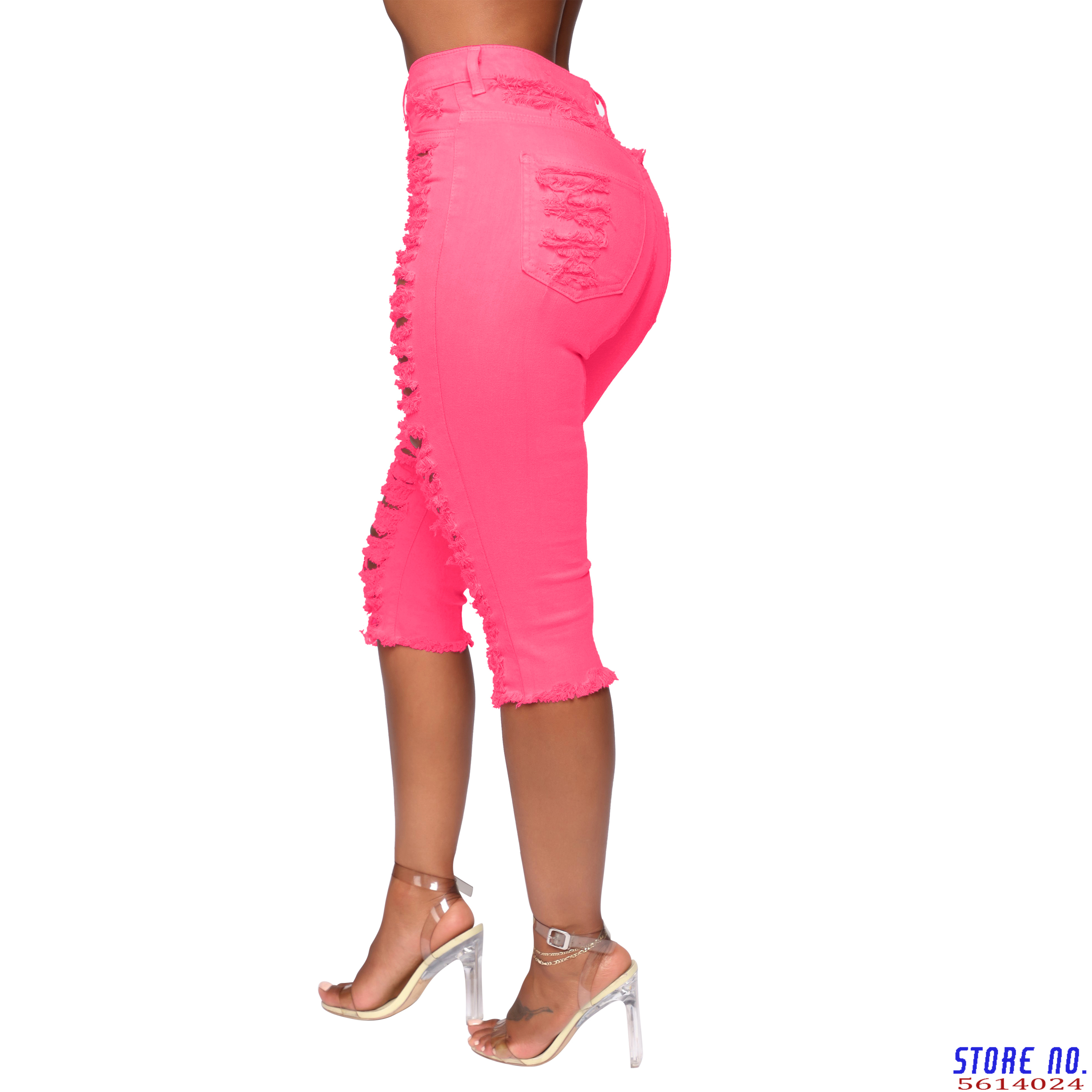Denim Skinny Hole Jeans For Women Knee Length Capris Pants Femme Pink Sexy Ripped Fashion Bodycon Jeans Vestidos