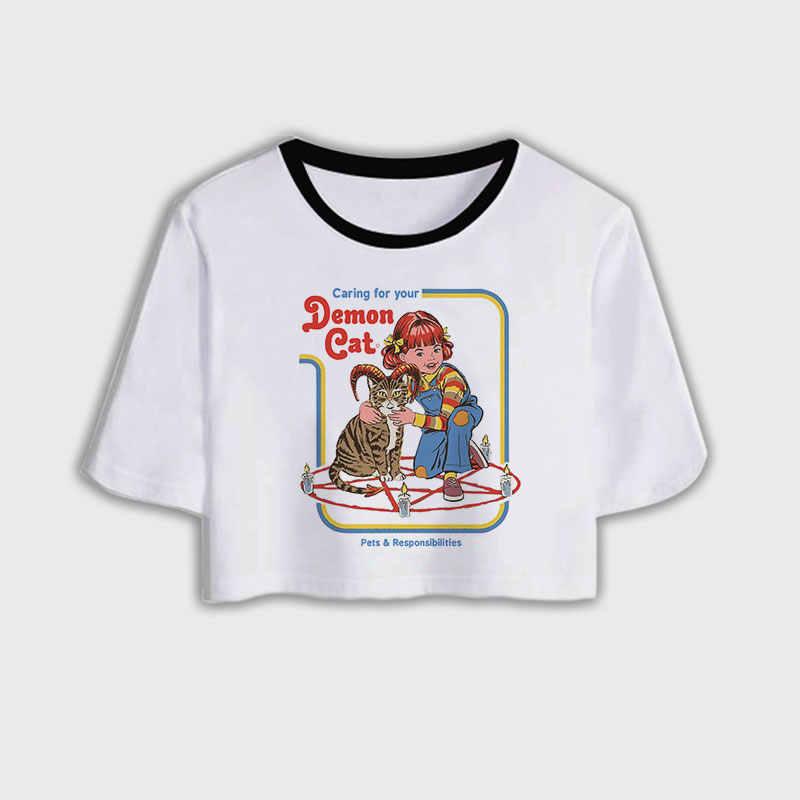 여름 Tshirt 사탄 악마 잔인 사신 하라주쿠 섹시한 자르기 탑 여성 T 셔츠 재미 있은 사탄주의 지옥 사악한 정신 해골 T-셔츠 여성