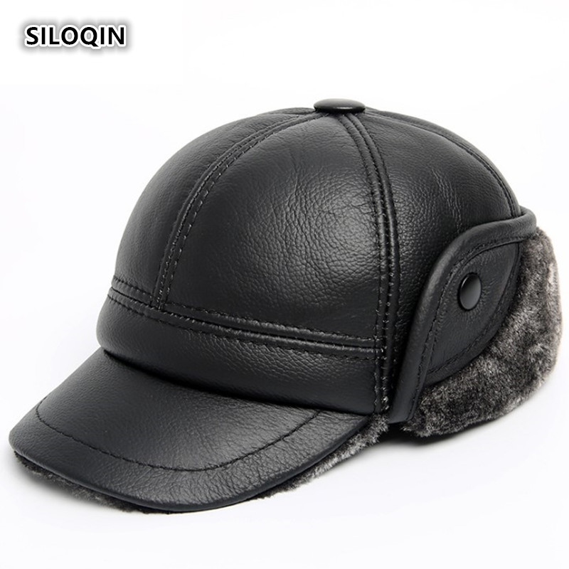 SILOQIN Man Genuine Leather Hats Winter First Layer Cowhide Warm Earmuffs Bomber Caps Plus Velvet Thicken Male Bone Caps Dad Hat
