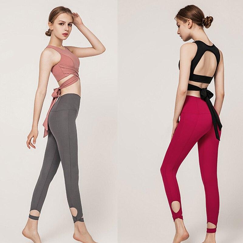 Conjunto de Calça sem Costura Sensual para Yoga Calça sem Manga Feminino Esportivo Pilates Academia Fitness Corrida Treino Sutiã Top