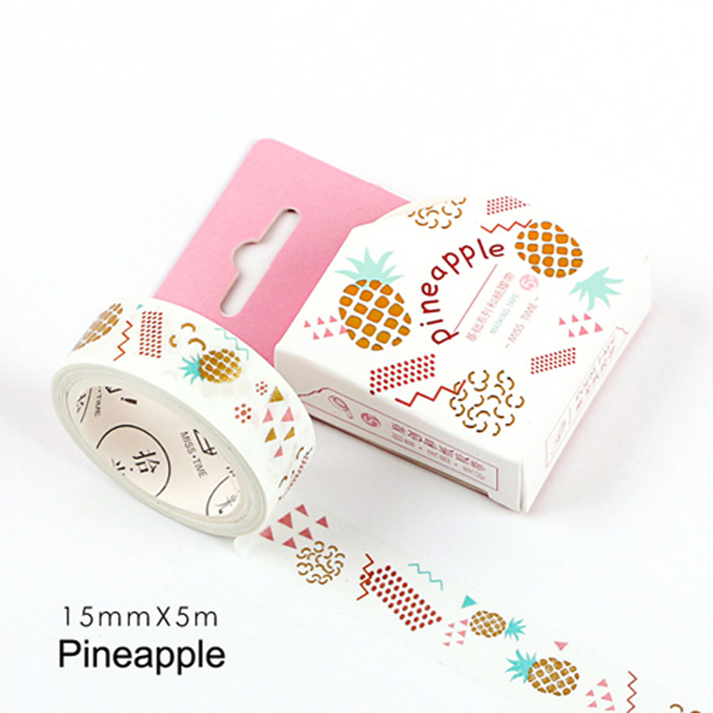 1.5cm*5m Pineapple Washi Paper Masking Tape Stick Label Notebook Album Decor