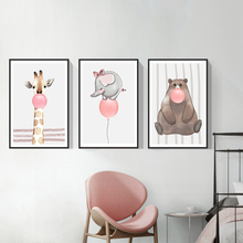 Cute Cartoon Animal Picture Nordic Canvas Painting Decoration Children Bedroom Home Decor Poster Print Living Room Wall Art недорого