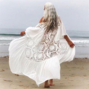 Image 1 - 2020 New Bikini Cover ups Sexy Belted Summer Dress White Lace Cotton Tunic Women Plus Size Beach Wear Swim Suit Cover Up Q1049