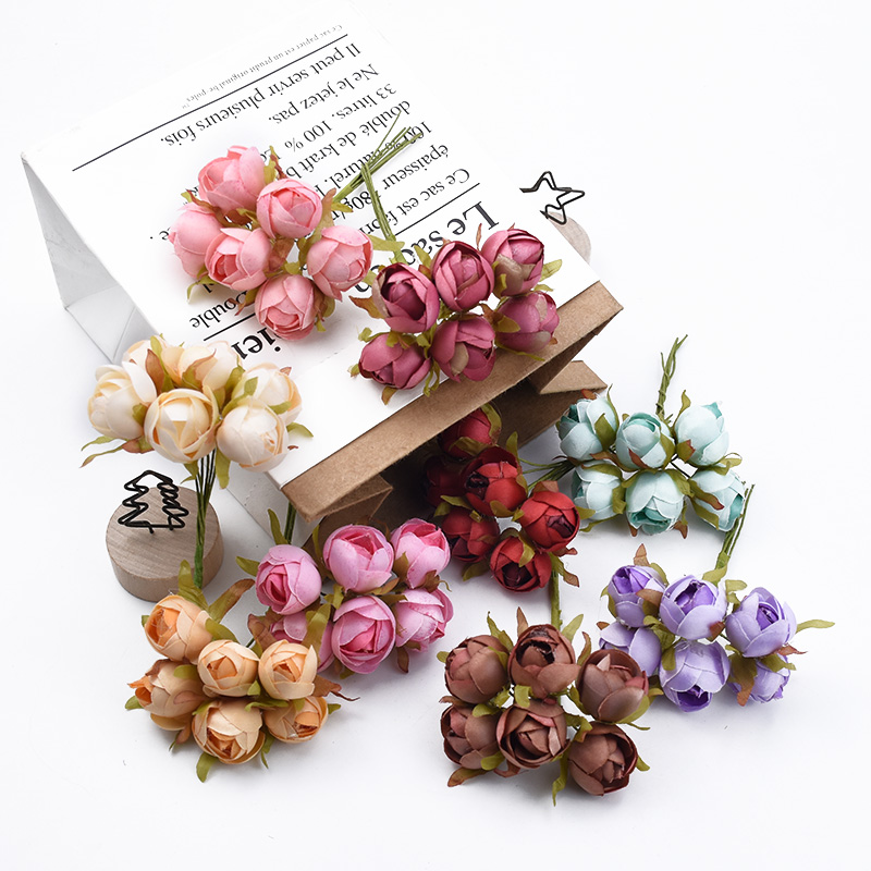 6pcs Roses Cheap Artificial Flowers For Wedding And Christmas Decorations 3
